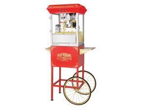 Great Northern Red 8oz Roosevelt Antique Style Popcorn Popper Machine w/Cart