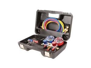 "FJC 6850 R1234YF/R134a/R12 Aluminum manifold gauge set.with 72"" hoses and manual couplers in a plastic box"