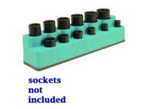 "Mechanics Time Saver 1385 3/8"" Drive 12 Hole Green Impact Socket Holder"