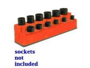 "Mechanics Time Saver 1381 3/8"" Drive 12 Hole Red Impact Socket Holder"