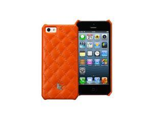 Jisoncase Quilted Genuine Leather iPhone 5 Wallet Case JS-IP5-001D Orange