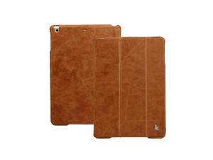 Jisoncase Brown Vintage Genuine Leather Smart Cover for iPad Air 2 & iPad Air JS-ID6-04A20