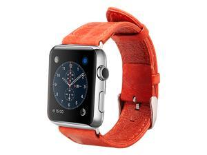 Jisoncase Vintage Red Genuine Leather Strap Wristband with Free Adapters for Apple Watch 38mm JS-AW3-05A30