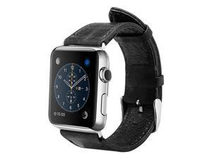 Jisoncase Vintage Black Genuine Leather Strap Wristband with Free Adapters for Apple Watch 38mm JS-AW3-05A10