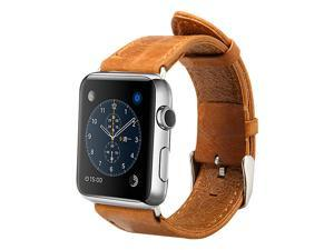 Jisoncase Vintage Brown Genuine Leather Strap Wristband with Free Adapters for Apple Watch 38mm JS-AW3-05A20