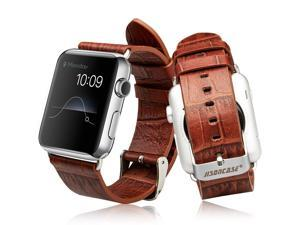 Jisoncase Genuine Leather Strap Replacement Wristband with Adapter for Apple Watch 42mm JS-AW4-06V20