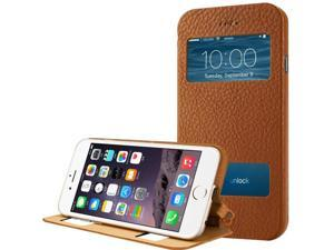 "Jisoncase Brown Genuine Natural Leather Case with Fold Stand, Quick View & Slider Window for iPhone 6 Plus 5.5"" JS-I6L-06C20"