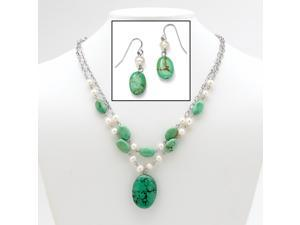 """Genuine Turquoise and Cultured Freshwater Pearl Silvertone Necklace and Earrings Set 17"""""""