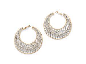 PalmBeach Jewelry Crystal Leaf Hoop Earrings in Yellow Gold Tone (60mm)