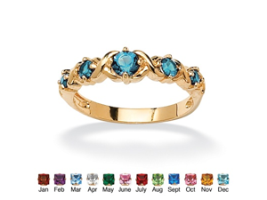 """Round Birthstone 14k Gold-Plated """"X & O"""" Stackable Ring - December- Simulated Blue Topaz"""