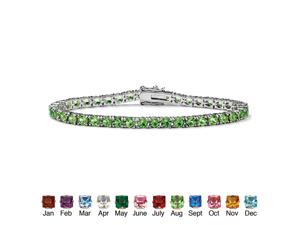 "PalmBeach Jewelry Round Birthstone Silvertone Tennis Bracelet 7"" - August- Simulated Peridot"