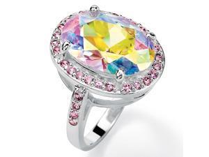 PalmBeach Jewelry 13.57 TCW Oval-Cut Aurora Borealis Cubic Zirconia Pink CZ Accent Silvertone Ring