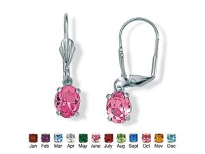 PalmBeach Jewelry Oval-Cut Birthstone Silvertone Drop Earrings - October- Simulated Tourmaline