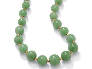 "PalmBeach Jewelry Jade 10k Yellow Gold Beaded Graduated Necklace 18"""
