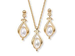 PalmBeach Jewelry Oval Pearl Drop Pendant Necklace and Earrings Set in Yellow Gold Tone