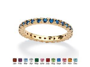 Round Birthstone 18k Gold-Plated Stackable Eternity Band - September- Simulated Sapphire