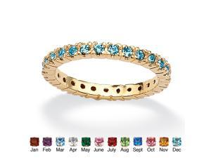 Round Birthstone 18k Gold-Plated Stackable Eternity Band - December- Simulated Blue Topaz