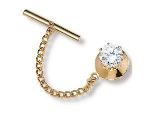 PalmBeach Jewelry Men's 1.25 TCW Round Cubic Zirconia Tie Tack in Yellow Gold Tone