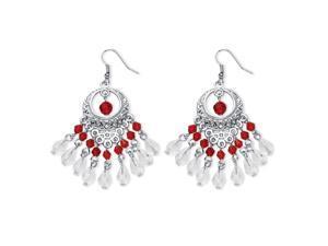 PalmBeach Jewelry Red Crystal Chandelier Earrings in Silvertone