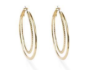 "PalmBeach Jewelry Yellow Gold Tone Double Hoop Earrings 2"""