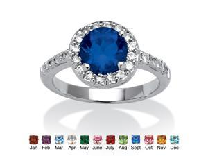 Round Simulated Birthstone and Cubic Zirconia Halo Ring in Sterling Silver - September- Simulated Sapphire