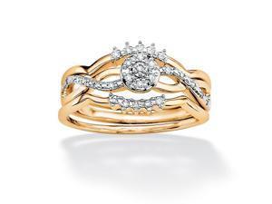 PalmBeach Jewelry 2 Piece 1/7 TCW Round Diamond Wave Bridal Ring Set in 10k Gold