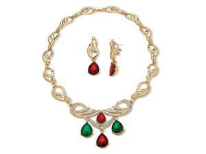 PalmBeach Jewelry 2 Piece Jewel-Tone Crystal Jewelry Set in Yellow Gold Tone