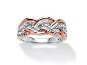 PalmBeach Jewelry 1/10 TCW Round Diamond Braid Ring in Rose Gold over Sterling Silver