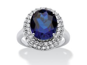 PalmBeach Jewelry 6.68 TCW Oval-Cut Sapphire Double Halo Ring in Platinum over .925 Sterling Silver
