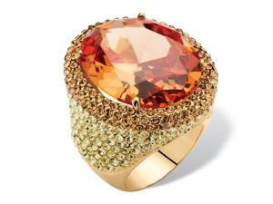 PalmBeach Jewelry 25 TCW Oval-cut Champagne CZ Halo Cocktail Ring Made with SWAROVSKI ELEMENTS