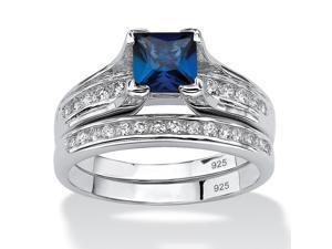 1.44 TCW Lab Created Blue Sapphire CZ Platinum over Sterling Silver 2-Piece Bridal Set
