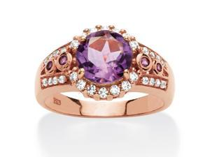 PalmBeach Jewelry 2.17 TCW Genuine Round Amethyst Halo Cocktail Ring in Rose-Plated Sterling Silver