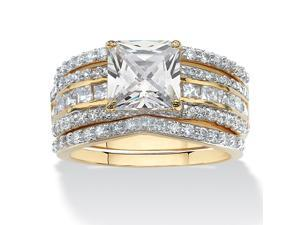 3.14 TCW Square-Cut Cubic Zirconia Three-Piece Bridal Set in 14k Yellow Gold-Plated