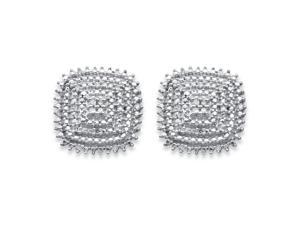 1/10 TCW Diamond Pave-Style Square Cluster Stud Earrings in 14k Gold over Sterling Silver