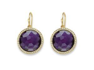 PalmBeach Jewelry .42 TCW Checkerboard-Cut Simulated Amethyst & CZ Halo Earrings 14k Gold-Plated