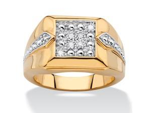 PalmBeach Jewelry Men's Diamond Accent Two-Tone Square Cluster Ring 18k Yellow Gold-Plated