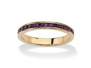 Birthstone Stackable Eternity Band in 14k Gold-Plated- February- Simulated Amethyst