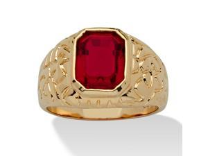 Men's Emerald-Cut Simulated Ruby Nugget-Style Ring 14k Yellow Gold-Plated Sizes 8-16