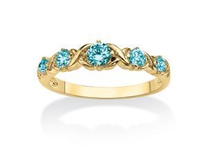 "Round Birthstone 14k Gold-Plated ""X & O"" Stackable Ring - December- Simulated Blue Topaz"
