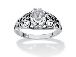 PalmBeach Jewelry Oval-Cut Birthstone Scroll Ring in Sterling Silver- April- Simulated Diamond