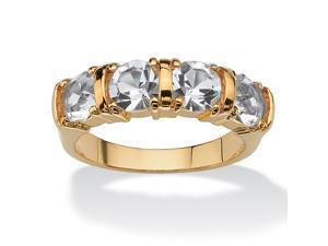PalmBeach Jewelry Round Birthstone 18k Gold-Plated Bar-Set Ring- April- Simulated Diamond