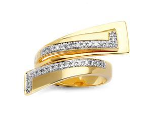 PalmBeach Jewelry .26 TCW Round Cubic Zirconia 14k Gold-Plated Geometric Bypass Ring