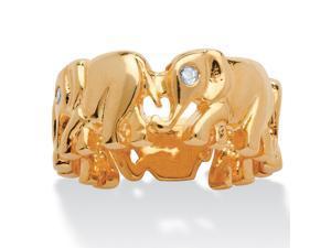 PalmBeach Jewelry Round Cubic Zirconia 14k Yellow Gold-Plated Elephant Caravan Ring