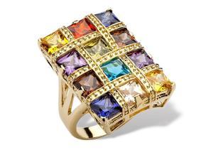 PalmBeach Jewelry 8.40 TCW Princess-Cut Multicolor Cubic Zirconia 14k Yellow Gold-Plated Ring