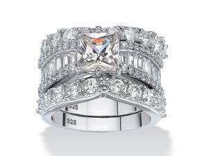 6.18 TCW Princess-Cut Cubic Zirconia Three-Piece Bridal Ring Set in Platinum over Sterling Silver