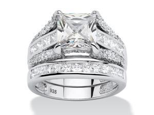 3.14 TCW Princess-Cut Cubic Zirconia 2-Piece Bridal Ring Set in Platinum over .925 Sterling Silver