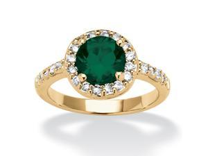 Round Birthstone and Cubic Zirconia Ring In Yellow Gold Tone - May- Simulated Emerald