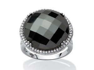 PalmBeach Jewelry Round Checkerboard-Cut Simulated Black Onyx Halo Cocktail Ring Rhodium-Plated