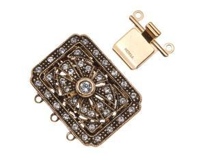 Antiqued Gold Plated 3-Strand Box Clasp Ornate Rectangle W/ Crystals 24.5x26.5mm