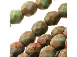 Czech Fire Polished Glass Beads 6mm Round 'Turquoise Stone Picasso' (25)